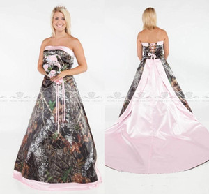 Vintage Strapless 2018 Camo country 웨딩 드레스 포레스트 새틴 핑크 에지 레이스 업과 탈착식 트레인 플러스 사이즈 realtree Bridal Gowns