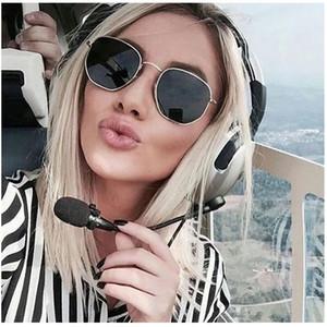 브랜드 디자이너 선글라스 여성 남성 고품질 6 각형 메탈 선글라스 불규칙한 6 각형 성격 플랫 렌즈 케이스 및 박스 포함
