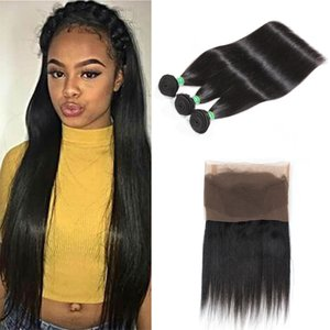 Pre Zupforchester 360 Lace Frontal Mit Bundles 8A Peruvian Gerade Virgin Hair 3 Bundles mit 360 Spitze-Stirn Closure Menschenhaar-Webart Bundles