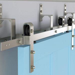 الالتفافية انزلاق باب الأجهزة الخشب كيت الفولاذ المقاوم للصدأ الالتفافية انزلاق باب الحظيرة الأجهزة كيت للأبواب مزدوجة