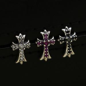 Nuevo diseñador de joyas de plata de ley 925 vintage, Europa, Europa, plata antigua, pendientes hechos a mano de cruces con circonia cúbica
