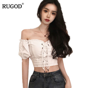 RUGOD 2018 Sexy Off Shoulder Puff Sleeve Drawstring Blusa Casual Slim High Elastic Blusa de gasa High Wasit Camisas Tops de mujer