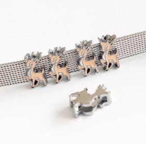 10 Pz 8 MM Smalto Natale Alce Xmas Animal Deer Slide Charms Perline Misura 8mm Strisce Etichette Pet Collar Cinture Bracciali