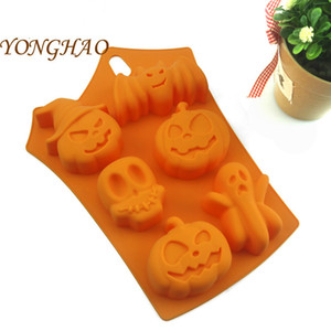 Halloween Cake Mold Silicone 6 Holes Ghost Pumpkin Shape Baking Mould Cake Tools Festival Bakeware
