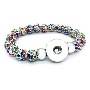 New Arrival 029 Interchangeable Jewelry Candy Colors Expandable Bead Stretch Glass Bead Bracelet 18mm Snap Button Jewelry