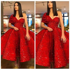 2021 Sexy Un hombro Vestidos de baile con lentejuelas con lentejuelas Longitud de té fruncido Vestidos de noche con cremallera Atrás Cocktail Vestido Formal Fiesta Vestidos baratos de Fiest