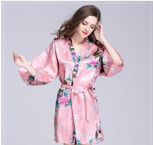 Peacock robe manches pyjama en soie peignoir dames été robe de soie unique Ameublement vêtements Vêtements de nuit en gros