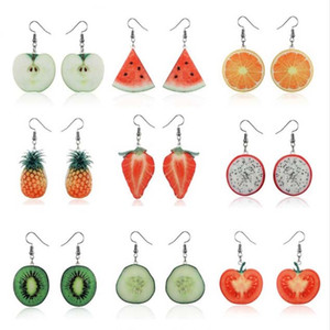 Temperamento coreano Lovely Earrings Fruit Sandía Strawberry Apple Orange Lemon Kiwi Pendientes largos Venta al por mayor Pendientes para mujeres