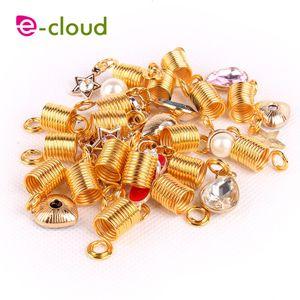 El nuevo anillo de tubo de primavera de metal dorado 2017 dreadlock perlas para trenzas de pelo para rastas ajustable cabello trenza manguito clips