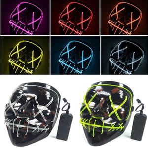 LED Cadılar Bayramı Maskeleri EL Tel Parlayan Maske Siyah Korku Hayalet Maske Masquerade Doğum Günü partisi Karnaval Cosplay Tam Yüz Maskeleri HH7-1719