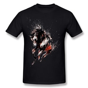 High Quality Mens 100% Cotton Splatter runnig horse T Shirt Mens Round Neck Navy Blue Short Sleeve T Shirts S-6XL Personalized T Shirt