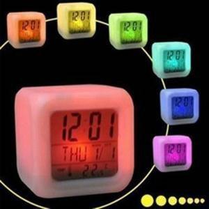 LED Lumière Table Horloges En Plastique Carré Batterie Numérique Réveil Incandescent Dans Le Bureau Noir Horloge De Mode Mode 7 25wj B