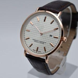 Горячие продажи 40 мм кварцевый кожаный ремень 2 иглы Ультра-тонкие циферблаты модные мужские часы рабочий день дизайнер мужчины одеваются часы подарочные наручные часы