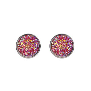 Regalo di Natale 12MM Starry Sky orecchini di pietra naturale geometrica circolare Frosted Orecchini in acciaio inox Orecchini gioielli