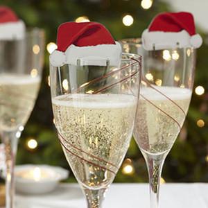 10 шт. рождественские украшения для дома красные шляпы шампанское стекло декор картон Noel украшения Навидад год поставки P20