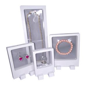 4 Adet Beyaz PET Şeffaf Süspansiyon Pencere Durumda Çok Fonksiyonlu Takı Küpe Bilezik Boncuk Kolye Yüzük Ekran Standı Kutusu