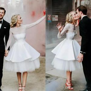 Modestos Ilusão Sheer manga comprida Vestidos de casamento do joelho barato Comprimento País Garden Beach Casual vestidos de noiva Custom Made