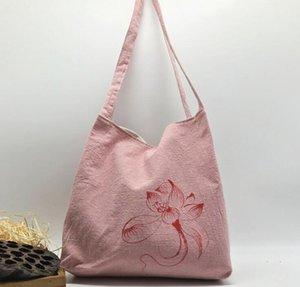 Handbemalte One-Shoulder literarischen weiblichen Baumwolle und Leinen Tasche dicken handbemalten Zen-Stoff weiblichen Zen-Tasche