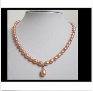 hot enorme 10-12mm barocco south sea gold pink pearl necklace18inch + pendente