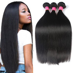 8А бразильские прямые волосы Пучок наносит естественный цвет дешевые 3 пучки brazillian прямо Девы человеческих волос не клубок