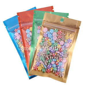 New 100pcs Many Size Tear Notch Flat Pouches Orange Blue Green Gold Mylar Foil Zip Lock Stock Bag with Hang Hole