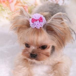 Clips de la princesa del pelo de perro preciosa horquilla del animal doméstico del gato del perro arcos del pelo del perrito de encaje y estética lindo perro Accesorios para el cabello decorativo