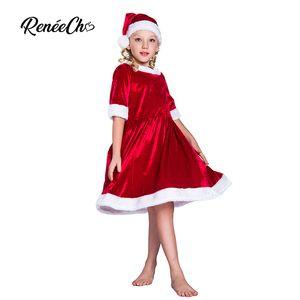Reneecho 2018 Costume di Natale per bambini Abiti da Babbo Natale Ragazze Toddler Cosplay Bambini Holiday Halloween Outfit Hat Suit