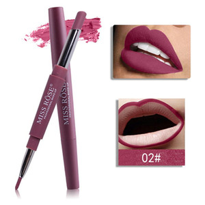 MISS ROSE 14 Color Double-end Lipsticks Lasting Lipliner Waterproof Profissional Moisturizer Lip Liner Stick Pencil batom matte