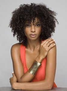 new brazilian Hair African Ameri afro short kinky curly wig Simulation Human Hair curly wig with bang in stock