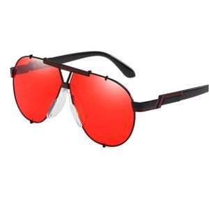 MINCL / Moda Mujer Verano Vintage oval Gafas de sol reflectantes Mujer Espejo Lente de Gran Tamaño Redondo Tinte Lente Rojo Gafas de Sol ML