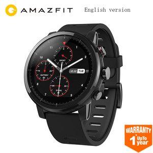 Английская версия Huami Amazfit Stratos смарт спортивные часы 2 GPS 5ATM воды 2.5 D экран GPS Firstbeat плавание Smartwatch черный
