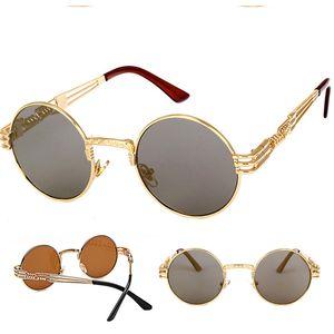 Vintage retro gotik steampunk ayna güneş gözlüğü altın ve siyah güneş gözlükleri vintage yuvarlak daire erkekler UV gafas de sol