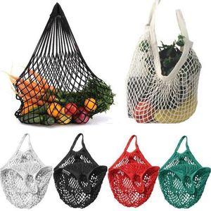 Mesh Bag shopping conveniente riutilizzabile Frutta String Grocery Shopper Tote Cotone Mesh verdura bagagli borsa LJJA3166