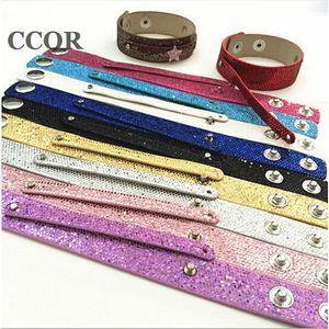 10 pcs 8mm * 100mm + 18mm * 200mm Snap PU Sequin Bling Cuir Bracelets DIY Accessoires Fit 8mm Charmes de Glissade, Perles, Lettres