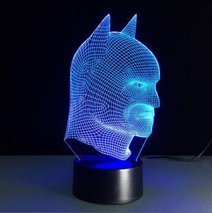 차가운 크리스마스 선물 배트맨 대 슈퍼맨 3D 아크릴 LED 랜턴 야간 조명 터치 데스크 탁상용 램프 어린이를위한 다크 액션 피규어 장난감에 빛나는