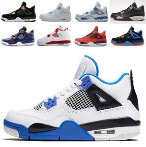 Bayan Erkek Basketbol Ayakkabı J4 4 s Beyaz Çimento Bred Yangın Kırmızı Spor Sneakers Jack Üniversitesi Mavi Trail Yürüyüş Koşu Ayakkabıları