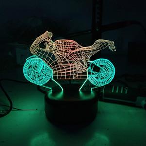 더블 컬러 오토바이 LED 3D 나이트 라이트 크리스마스 사랑스러운 아이 조명 램프 장식 조명 도매 Dropshipping를을 장식으로 이루어져