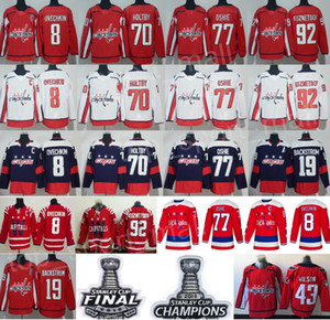 Hockey Capitals de Washington 8 Alex Ovechkin Jersey 19 Nicklas Backstrom 43 Tom Wilson Braden Holtby 77 TJ Oshie 92 Evgeny Kuznetsov Rouge Blanc