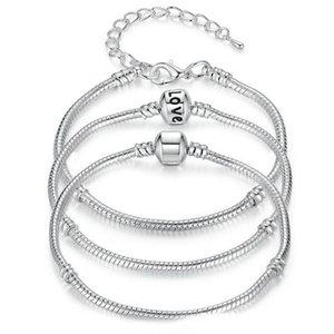 All'ingrosso della fabbrica 925 bracciali in argento sterling catena a forma di serpente fascino europeo branello del braccialetto del braccialetto per uomo donna gioielli regalo in massa