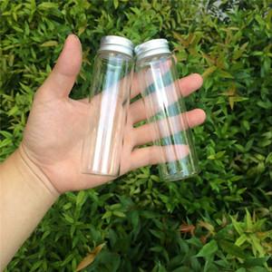 Al por mayor 37 * 120 * 24 mm 90ml botellas de cristal tapón de aluminio líquido claro transparente del caramelo del regalo de contenedores vacíos Botellas Deseando tarros 12pcslot