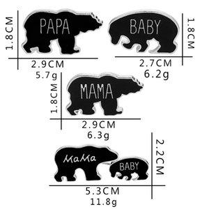 Papa Mama Bebê Urso Preto Esmalte Bonito Animal Emblema Lapela Broche Pegar Botões Pins Família Jóias Presente de Natal Mãe criança