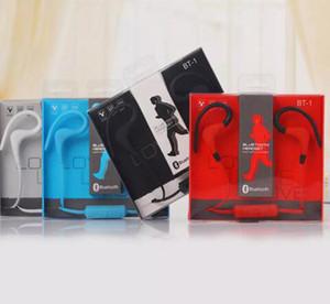 BT-1 Auricular Bluetooth Sport Earhook Earbuds Estéreo Over-Ear Deportes inalámbricos Banda para el cuello Auriculares Auriculares con micrófono Auriculares DHL gratis