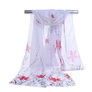 160 см*50 см 2018 бренд шарф женщин шелковый шарф маленький лист цветок печати шифон хиджаб тонкий бандана солнцезащитный крем шарфы полотенца