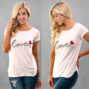 Kadın Tee Kadın Gömlek Aşk Baskılı Kısa Kollu Ekip Boyun Dökülen Pamuk Yaz Ince S-XL Üst Giyim Giymek