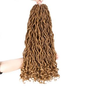 Precio al por mayor Sintético Soft Faux Locs Curly Crochet Trenzado Extensiones de Cabello 18 pulgadas 70g / pack 24strands / pack Goddess Hairstyle