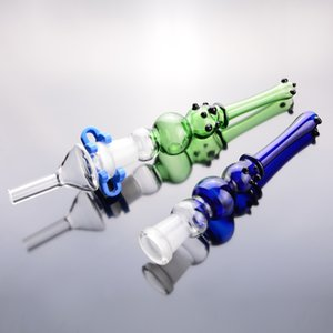 "Kits Glasrohrspitze blau grün 14mm Gelenk 6"" bubbler Pfeife Raucher Bong mit Kunststoff-Clip"