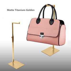 Envío gratis por DHL Venta al por mayor venta caliente Color oro metal acero inoxidable mujer bolso bolso ajustable display soporte bastidores S7-2