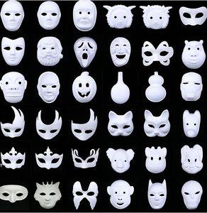 Branco Unpainted Máscara Facial Em Branco Versão Em Pasta Máscara de Papel Celulose DIY Masquerade Masque Mask Máscaras Do Partido