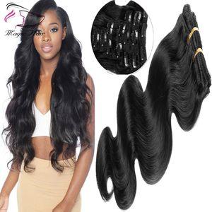 7A Clip negro natural en el cabello 10Pcs 150G / Set Body Wave 8-30inch Remy brasileño Real Clip de cabello humano en extensiones