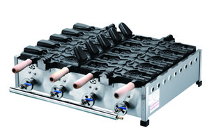 Tipo de gas 10 PCS abre la boca Máquina de Taiyaki del helado del fabricante de la galleta de pescados